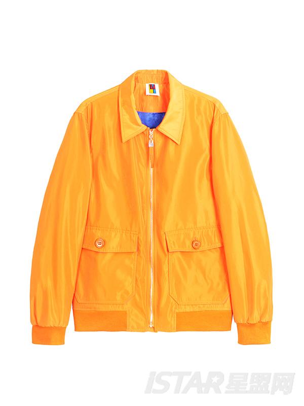 橙色短款翻领清新缎面夹克