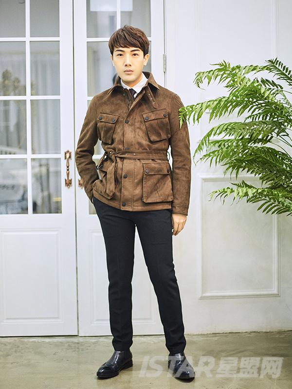 麂皮绒英伦复古翻领带腰带短夹克