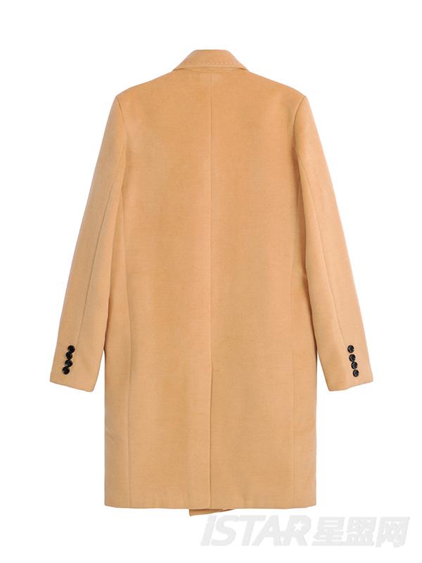 西装领单排扣流行时尚纯色中长款毛呢外套