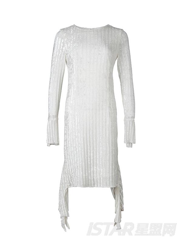 圆领开叉喇叭袖修身高腰气质不规则下摆气质连衣裙仙