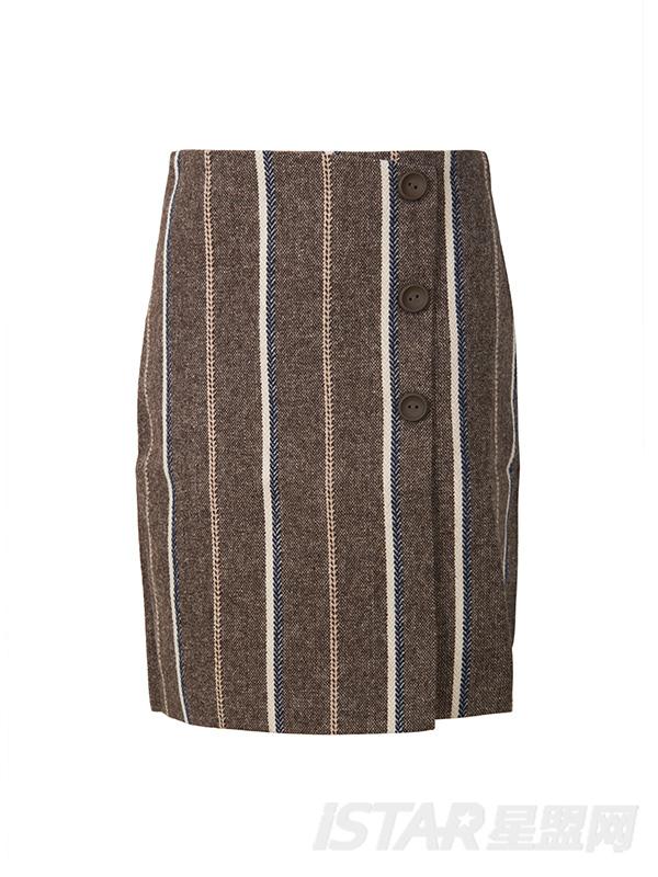 优雅条纹开叉修身短裙