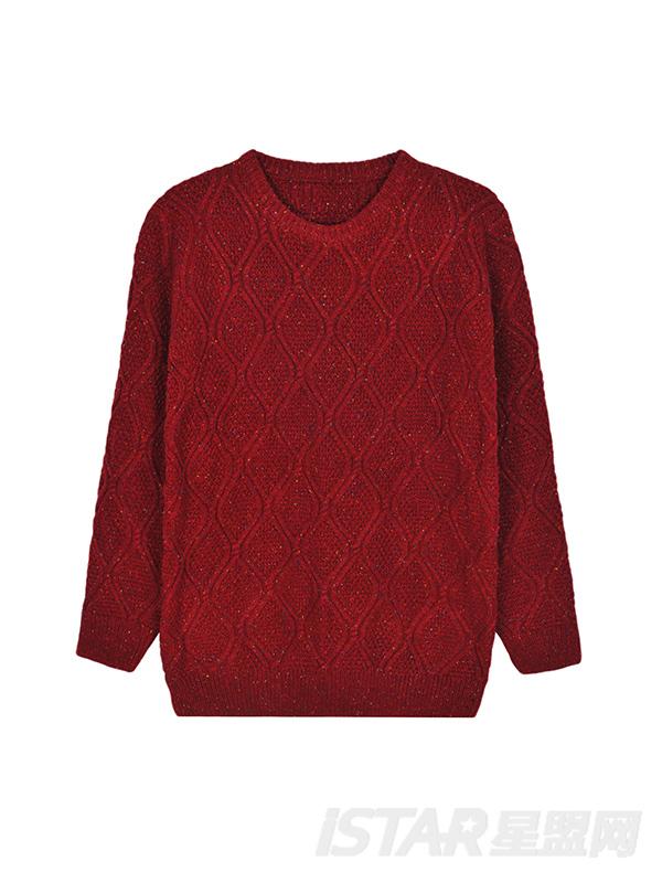扭花设计毛针织衫