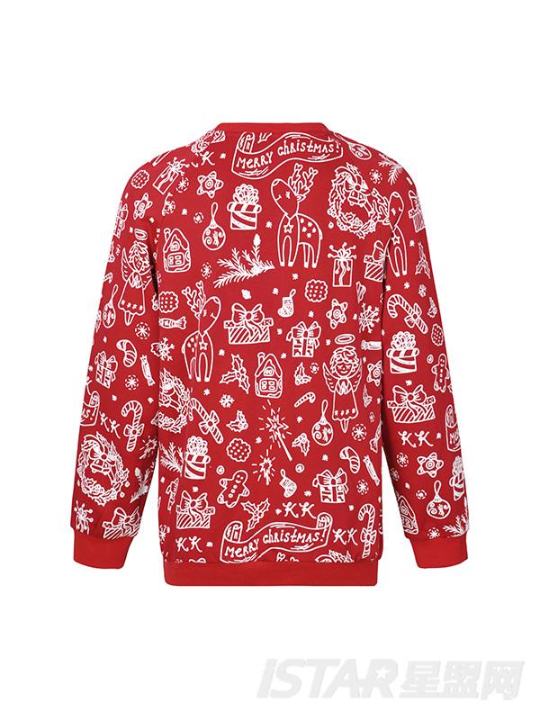 圣诞红色卫衣