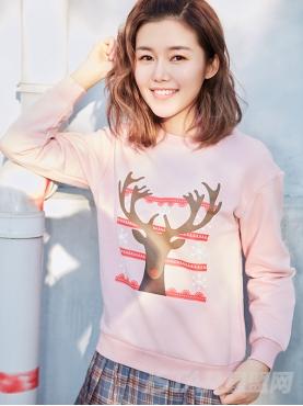 甜蜜粉圣诞特别款麋鹿印花装饰舒适休闲卫衣