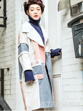 个性拼接时尚麂皮秋冬款保暖羊羔绒大衣