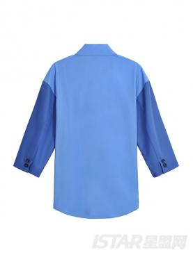 时尚欧美风个性落肩袖撞色拼接七分袖衬衣