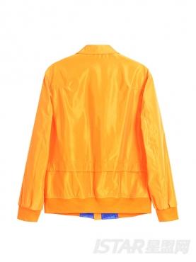 亮橙色短款翻领清新缎面时尚个性夹克