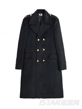 双排扣大衣男修身中长款英伦外套