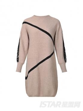 袖口蕾丝拼接中长款时尚针织套头衫