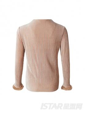 个性平领设计长袖毛圈修身内搭纯色上衣