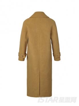 复古姜黄秋冬长款阿尔巴卡修身时尚大衣