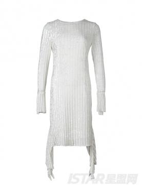 圆领开叉喇叭袖修身高腰不规则下摆气质连衣裙