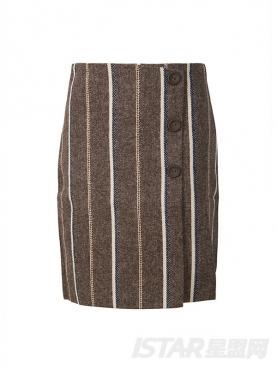 优雅竖条纹开叉修身秋冬毛呢短裙