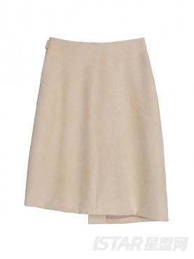 时尚麂皮个性绑带装饰秋冬简约纯色优雅短裙