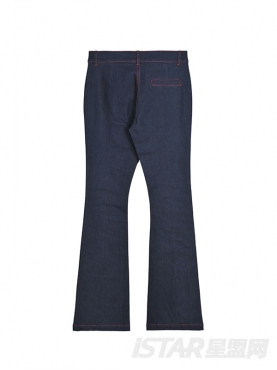 中高腰撞色缝线装饰裤脚前开衩长款牛仔裤