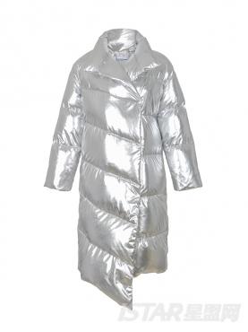 欧美范不规则中长款时尚亮银色羽绒服