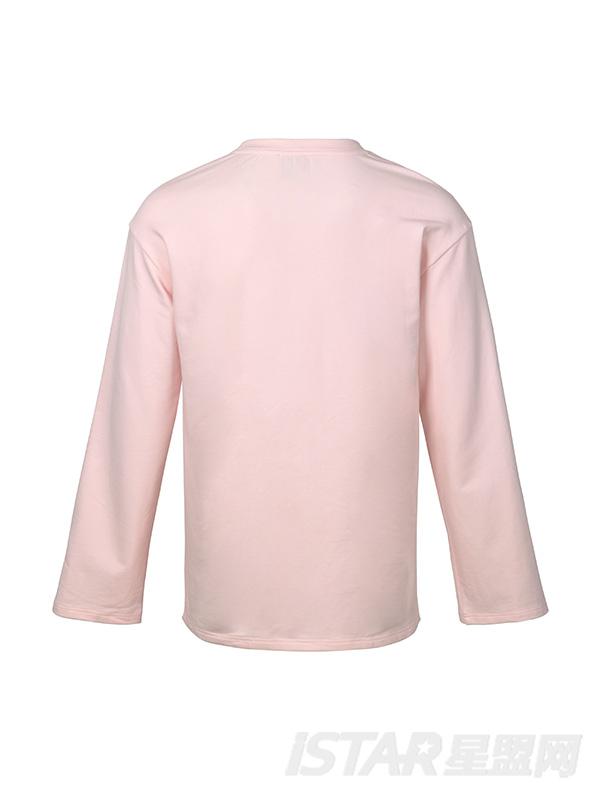 粉色扣子侧边开袖长袖T恤