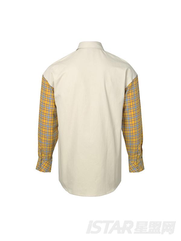 黄格子面料拼接设计感衬衣