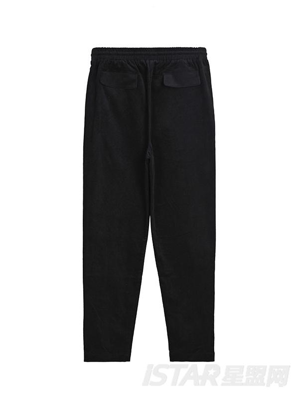 灯芯绒拉链口袋黑色休闲裤
