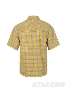 明媚黄个性装饰袋格子短袖休闲衬衣