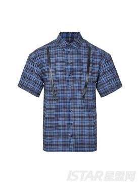 经典蓝优雅格子黑拉链装饰短袖衬衫