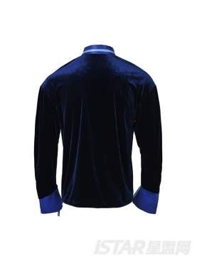 高贵丝绒蓝个性抽褶装饰长袖优雅衬衣
