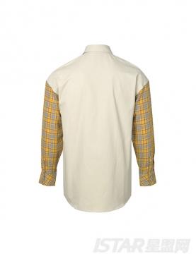 黄格子面料拼接时尚设计感休闲舒适衬衣