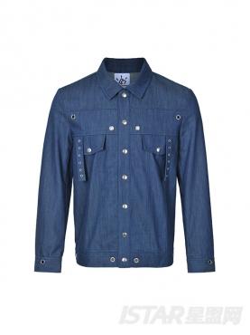 经典蓝舒适长袖个性五金装饰牛仔夹克