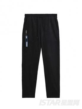 舒适灯芯绒撞色拉链装饰个性黑色潮流休闲裤