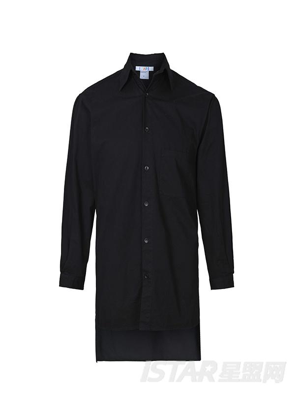 黑色长款字母外套