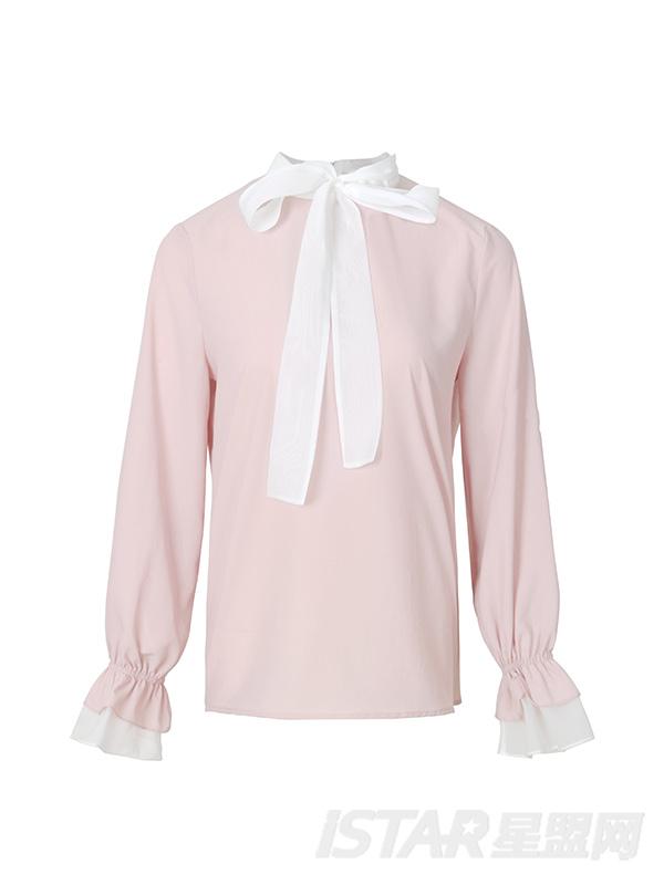 白色蝴蝶结领子粉色衬衫
