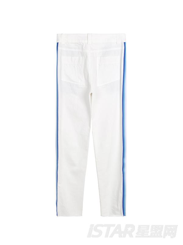 新款侧缝撞色九分裤