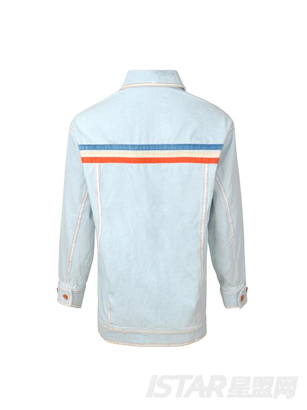 浅蓝撞橘线夹克