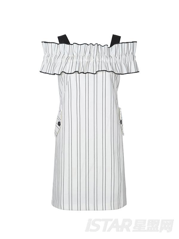 条纹抽褶粗吊带连衣裙