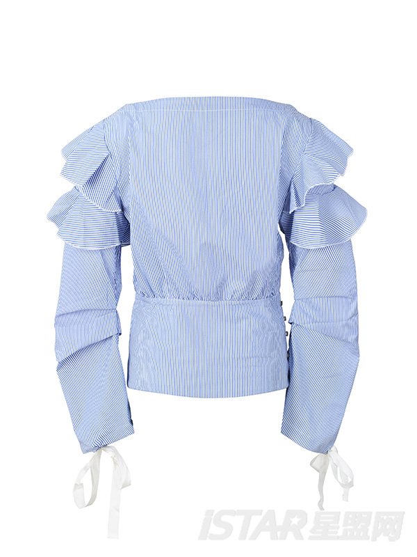 荷叶边肩部织带女衬衫