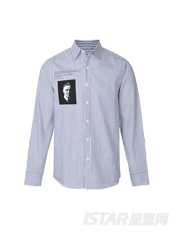 日系潮牌人物印花贴布绣条纹衬衫
