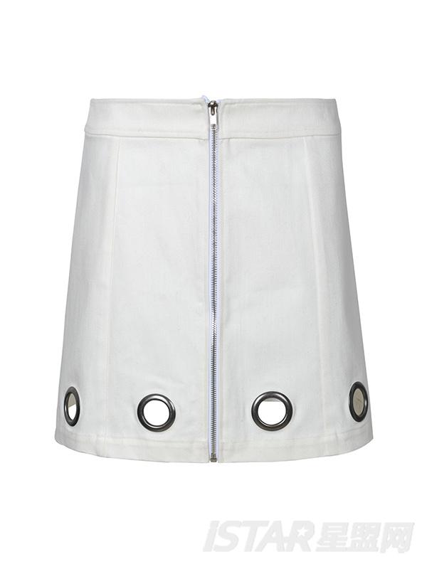 镂空气眼设计短裙