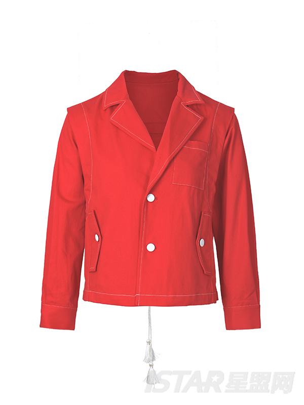 背部抽绳红色短夹克