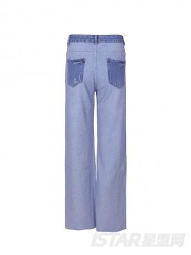 拼色破洞直筒牛仔裤