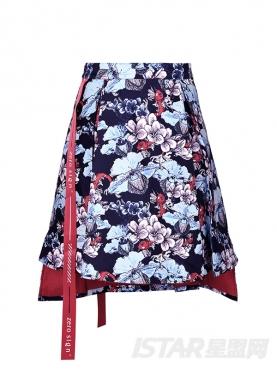 鲤鱼印花织带半身裙