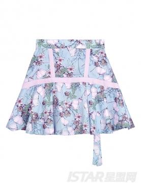 印花褶皱短裙