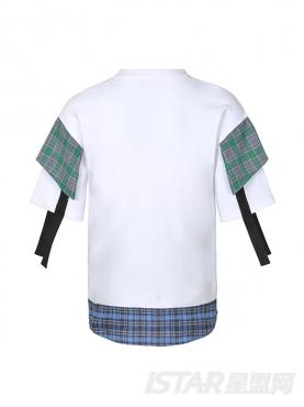 个性双格子面料拼撞白色短袖舒适纯棉T恤