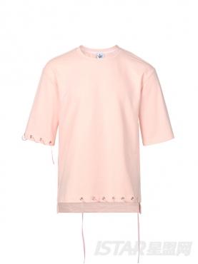 时尚粉个性气孔织带装饰休闲舒适短袖T恤