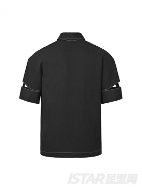 潮流拆解设计个性开口袖时尚黑休闲舒适衬衣