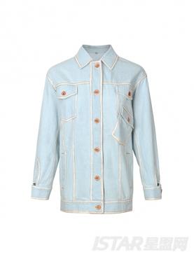 清爽浅蓝个性橘线撞色潮流oversized时尚夹克