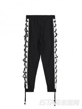 经典黑白配个性侧缝绑带舒适棉小脚休闲裤