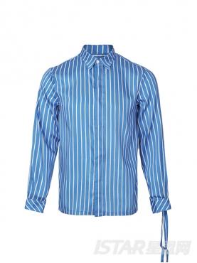 古典蓝优雅条纹装饰袖口不对称绑带元素经典时尚衬衫