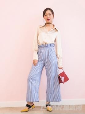 甜美花苞优雅蓝白条纹舒适高腰时尚阔腿裤
