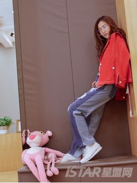 个性背部抽绳设计性感红色短款纯棉夹克外套