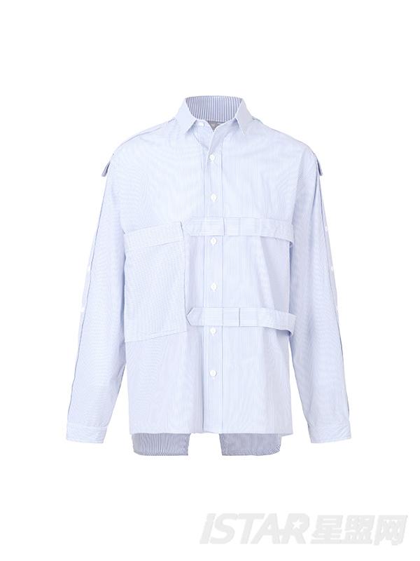 宽松不对称设计长袖衬衫